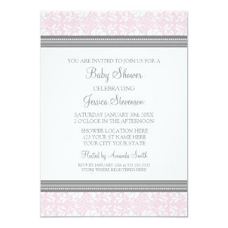 "Pink Gray Damask Custom Baby Shower Invitations 5"" X 7"" Invitation Card"