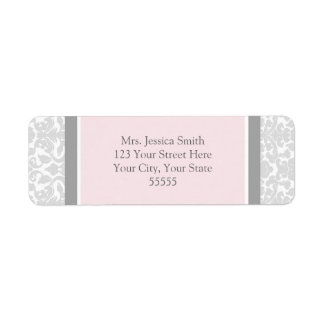 Pink Gray Damask Custom Return Address Labels