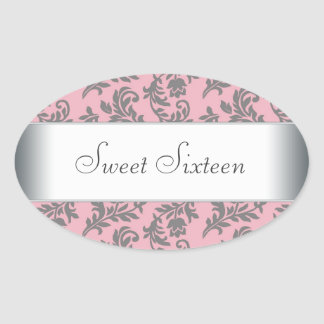 Pink Gray Damask Envelope Seal Party Label Oval Sticker