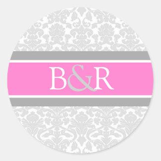 Pink Gray Damask Monogram Envelope Seal Classic Round Sticker