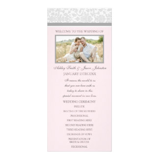 Pink Gray Damask Photo Wedding Program Rack Cards
