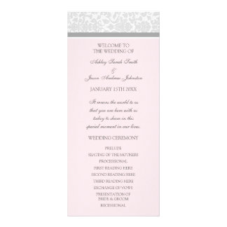 Pink Gray Damask Wedding Program Rack Cards