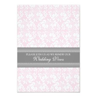 Pink Gray Damask Wedding Vow Renewal Invitations