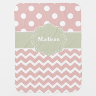 Pink Gray Dots Chevron Personalized Swaddle Blanket