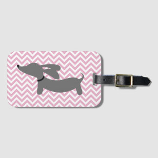 Pink & Gray Doxie Wiener Dog Luggage Bag Tag