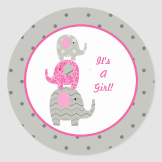 Pink Gray Elephant Baby Personalized Envelope Seal Round Sticker