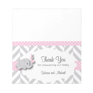 Pink & Gray Elephant Baby Shower  | Candy Toppers Notepad