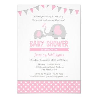 Pink Gray Elephant Baby Shower Invitation for Girl