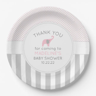 Pink Gray Elephant Baby Shower table decor Paper Plate