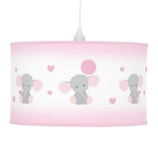 Pink Gray Elephant Nursery Baby Girl Safari Animal Pendant Lamp