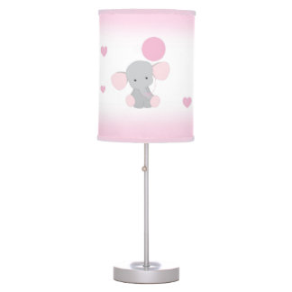 Pink Gray Elephant Nursery Baby Girl Safari Animal Table Lamp