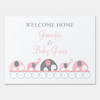 Pink & Gray Elephant Welcome Home Mom and Baby Sign