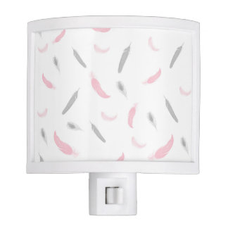 Pink Gray feather nightlight, girl baby nursery Nite Lites