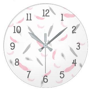 Pink Gray feathers clock, girl nursery bedroom Large Clock