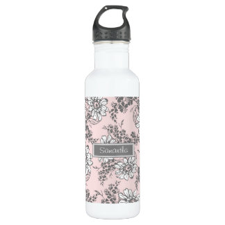 Pink Gray Floral Custom Name 710 Ml Water Bottle