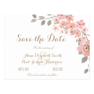 Pink & Gray floral Save the Date Postcard