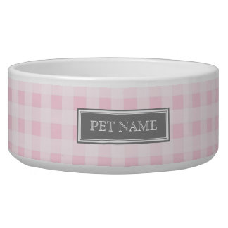 Pink Gray Gingham Custom Name Dog Bowl