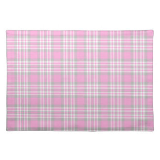 Pink Gray Grey Plaid Gingham Check Easter Spring Placemat