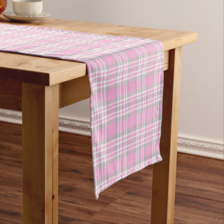 Pink Gray Grey Plaid Gingham Check Easter Spring Short Table Runner
