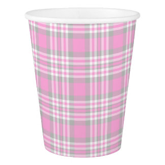 Pink Gray Grey Plaid Gingham Check Girl Spring Paper Cup