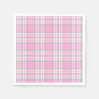Pink Gray Grey Plaid Gingham Check Girl Spring Paper Napkin