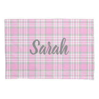 Pink Gray Grey Plaid Gingham Check Girl Spring Pillowcase