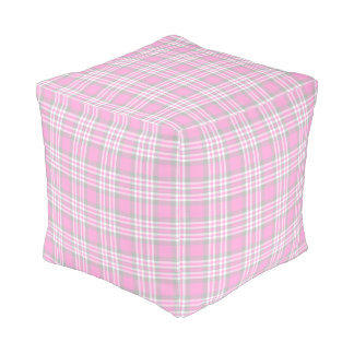 Pink Gray Grey Plaid Gingham Check Girl Spring Pouf