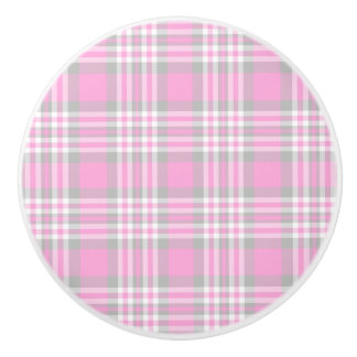 Pink Gray Grey White Plaid Gingham Check Girl Ceramic Knob