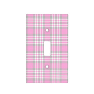 Pink Gray Grey White Plaid Gingham Check Girl Light Switch Cover