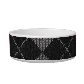 Pink & Gray Knit Argyle Pattern Cat Water Bowl