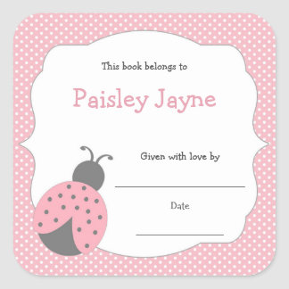 Pink Gray Ladybug bookplate / book baby shower Square Sticker