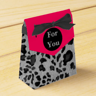 """Pink & Gray Leopard Print"" Favor Box"