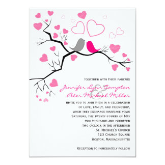 Pink, Gray Lovebirds & Hearts Wedding Invitation