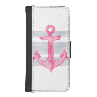 Pink gray modern watercolor anchor stripes pattern iPhone SE/5/5s wallet case