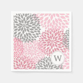 Pink Gray Monogram Dahlias dinner napkins Paper Napkins