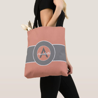 Pink Gray Monogram Personalized Tote Bag