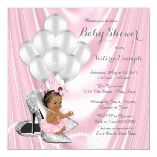 Pink Gray Pearl High Heel Ethnic Baby Shower Card