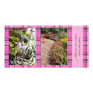 Pink Gray Plaid Tartan 2 Photo Customized Photo Card