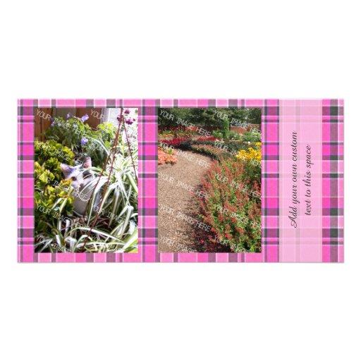 Pink Gray Plaid Tartan 2 Photo Picture Card