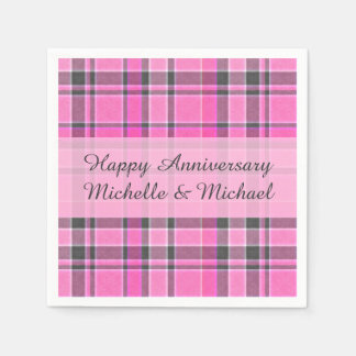 Pink Gray Plaid Tartan | Add Your Name Disposable Napkin