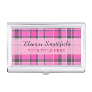 Pink Gray Plaid Tartan Business Card Holder