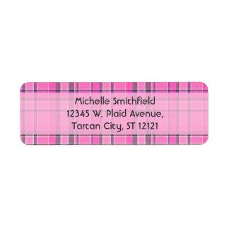 Pink Gray Plaid Tartan Return Address Label
