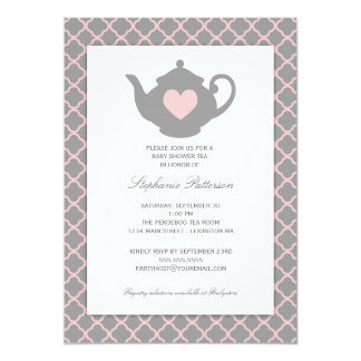 Pink + Gray Quatrefoil Baby Shower Tea Party Card