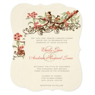 Pink & Gray Romantic Vintage Lovebirds Wedding Card