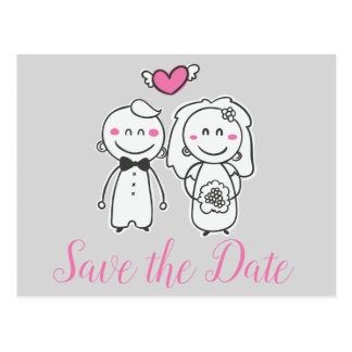 Pink & Gray Save the Date Bride, Groom Engagement Postcard