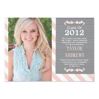 Pink Gray Stripe Photo Graduation Invitations