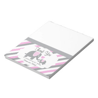 Pink & Gray Stripes Elephant  | Candy Toppers Notepad
