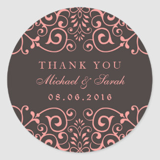 Pink Gray Victorian Floral Thank You Sticker