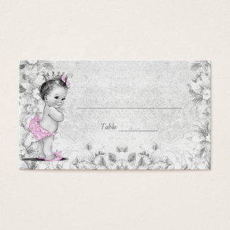 Pink Gray Vintage Princess Baby Shower Place Cards