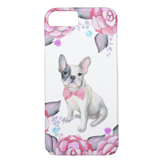 Pink gray watercolor roses cute french bulldog iPhone 8/7 case